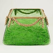 Antique Bohemian Art Glass Green Thread Vase Bowl Centerpiece, Bronze Mounts