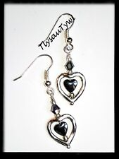 Heart2Heart 💕 Earrings...Hematite Gemstone...Silver Plated