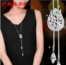 Crystal Tulip Pendant Statement Necklace Women Jewelry Chain Sweater Silve