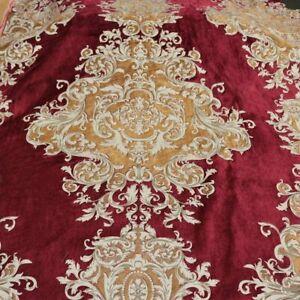 Buckingham - Imperial Pattern Velvet Upholstery Fabric by the Yard - Ruby