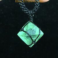 DIY Natural Fluorite octahedron pendant rough crystal specimen point healing 1pc