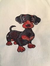 NEW kitchen Tea Towel embroidered With  Doxie Dachshund