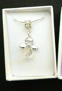 Confirmation / First Communion Crystal Angel Necklace in gift box & organza bag