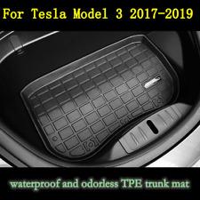 For 2017-2019 Tesla Model 3 TPE Before Cargo Tray Trunk Floor Mat Black Rubber