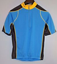 SUGOI Mens Blue Black & Yellow 1/2-Zip Short-Sleeve Cycling Jersey Medium NICE!