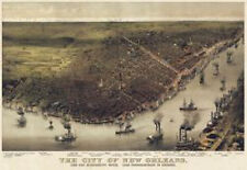The City of New Orleans Louisiana 1885 Currier & Ives Print Poster 19.5x27