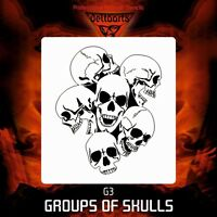 Airbrush stencil template DELTAARTS pile group of skulls G3 MINI  MID  XXL SIZE