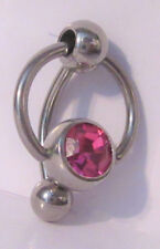 Vch Clitoral Hood Ring 14 gauge Surgical Steel Big Pink Ball Pressure Barbell