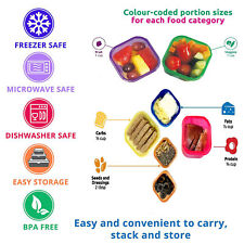 7 PIECE PORTION FOOD CONTAINERS-BPA FREE,MICROWAVE & FREEZER SAFE,EASY STORAGE