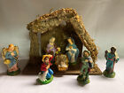 """Vintage Nativity Set Made In Italy Figures 3"""" Wooden Creche / Manger 10x8x5"""