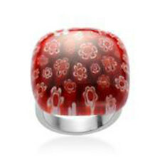 Murano Millefiori Square Floral GLASS RING in Stainless Steel Smooth Comfort Fit