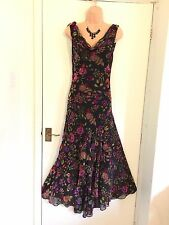Joseph Ribkoff Sin Mangas Multi Terciopelo Floral Vestido Asimétrico Talla 10