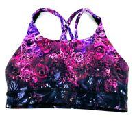 Lululemon Womens 4 Sports Bra Black Pink Ombre Floral Strappy Racerback NWOT