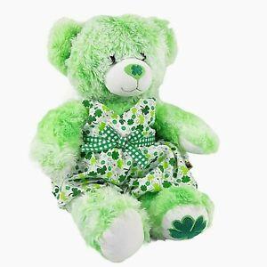 "Build A Bear St Patrick's Day Bear Lucky Plush Green Shamrock with Dress 17"" BAB"