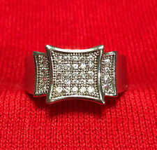 Sterling Silver 925 Square Cubic Zirconia Men's Signet Ring Size 12.5