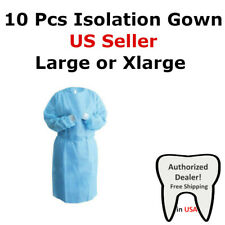 Medical Dental Isolation Gown With Knit Cuff Large Amp Xl Size Gowns Blue 10pcs