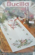 Bucilla Christmas Holiday Doves and Holly Stamped Embroidery Table Runner Kit