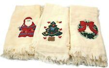 Christmas Tree Santa Wreath Bathroom Hand Towel 6 Piece Set Holiday Embroidered