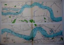 LONDON  RIVER THAMES WOOLWICH TILBURY GRAVESEND ESSEX KENT  MAP BACON  c1928
