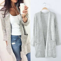 WomensWinter Long Sleeve Loose Knitted Sweater Jumper Cardigan Tops Coat Lot