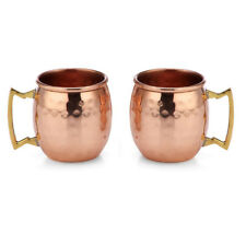 New! Set Of 2 100% Copper Hammered Moscow Mule Mug 2-Oz Shot Glass Made In India