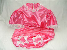 ADULT BABYS~MAIDS~SISSY~UNISEX GORGEOUS SATIN & LACE ROMPER WITH ANGEL SLEEVES