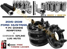 2015-2018 Mustang 20mm Black HubCentric Wheel Spacers + Chrome Spline Lug Nuts