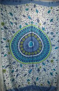 Retro Funky Boho Hippy Large Batik Sarong Shawl Wrap Beach Skirt Dress Blue