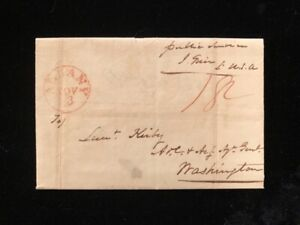 NY ALBANY 1823 STAMPLESS COVER WATERVLIET ARSENAL TO ADJ GENL MILITARY CONTENT