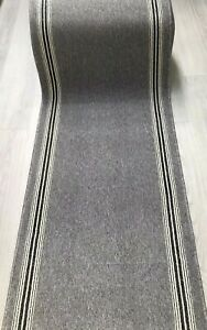 Grey with Black/Cream Stripes 67cm (2ft 2inches)Wide.Rug/NonSlip/Wash/Hall/Stair