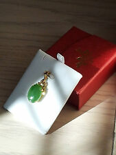 "Large 1 1/4"" + Bail 18k Solid Gold/Green Jade Pendant"