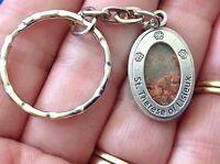 Rare Custom St. Therese Rose Petal Key Chain Key Ring Silver Tone Saint Medal
