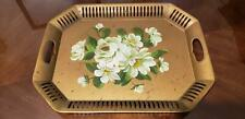 Vintage Gold Metal Handled Toleware Platter Tray Hand Painted Flowers