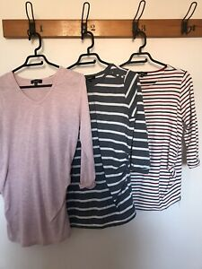 🌈 New Look Maternity Bundle X 3 Striped Tops Size 10