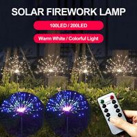 200LED Solar Firework Fairy String Light Garden Path Lawn Lamp Xmas Decor+Remote
