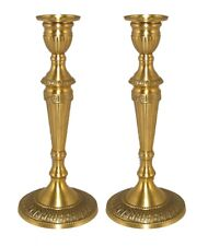 "Candle Holder Antique Gold Finish on Brass Embossed Base 4.25""Dia 10""High Pair"