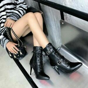Women Ankle Strap Buckle Boots Sexy Stiletto High Heels Round Toe Side Zip Shoes