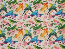 Stoffe Baumwolle Panamabindung Digitaldruck Deko Patchwork Gardine Vögel Nr.4
