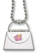 "Envelope Purse Locket Pendant Pink Enamel Flower Stainless Steel 22"" Necklace"