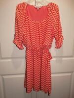 Women's LOTS OF LOVE BY SPEECHLESS Orange Chevron 3/4 Sleeve Dress Plus Size 1X