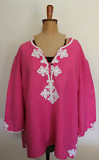 MY SIZE ~ Candy Pink Linen Tunic Top Blouse w White Embroidery Detail ~ L 18 20