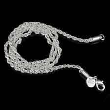 "925 Silver Plated 3 mm Rope Chain Men's Women's Necklace 16"" 18"" 20"" 22"" 24"""