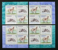 CANADA 2005 #1689a, White Tailed Deer, Atlantic Walrus, 4 Plate Blocks Mint NH