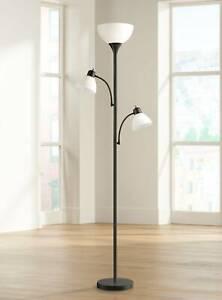Modern Torchiere Floor Lamp Bingham Black White Shades For Living Room Reading