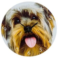 VISAGE glass clock piccoli Yorkshire Terrier Yorkie CUCINA MURO PICCOLO REGALO PET