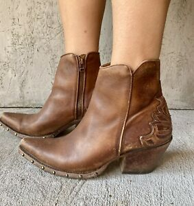 Ariat Ladies Fenix Naturally Distressed Brown Leather Western Ankle Boots Sz 7 B