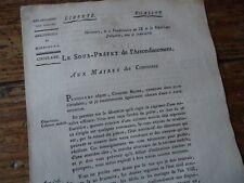 LORRAINE VOSGES REVOLUTION 1800 CIRCULAIRE MIRECOURT DESERTION CULTE SCEAUX