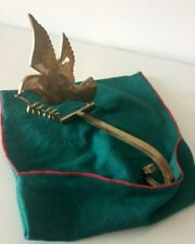 1 Vintage Brass Christmas Stocking Holder DOVE OF PEACE Patina •With Felt Bag