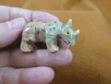 y-rhi-18 little gray Rhino Soapstone gemstone Stone Figurine I love rhinoceros