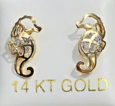 14K Gold Baby Earrings Seahorse Screw Back